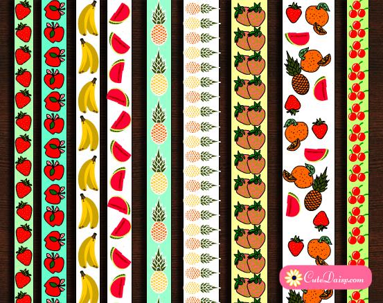 picture regarding Printable Washi Tape identify 9 Absolutely free Printable Fruit Washi Tapes