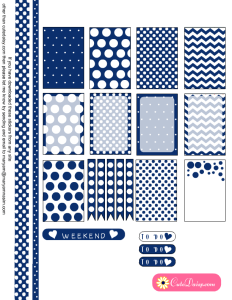 Free Printable Polka Dotted Stickers in Navy Blue Color