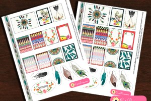 Free Printable Tribal Aztec Boho Stickers for happy Planner and Erin Condren Life Planner Boxes