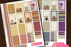 Free Printable Planner Stickers featuring Teddy Bears