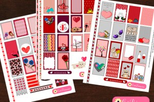Free Printable Planner Stickers for Valentine's Day