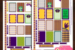 Free printable Mardi Gras stickers for Happy Planner and Erin Condren Life Planner