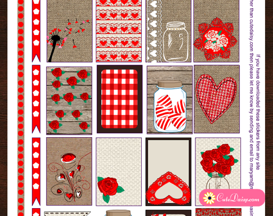 Valentine's Day Rustic Stickers for Happy Planner and Erin Condren Life Planner
