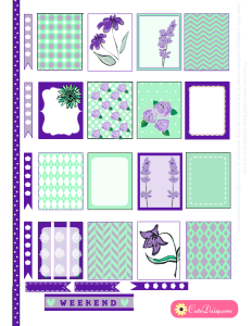 Mint and Purple Floral Stickers for Erin Condren Life Planner