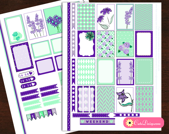 Mint and Purple Floral Stickers Kit for Planners