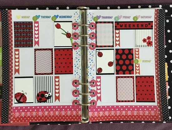 spring stickers used in planner