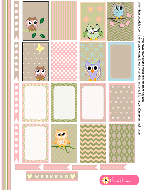 image regarding Happy Planner Free Printable Stickers known as Absolutely free Printable Owl Stickers for Planner