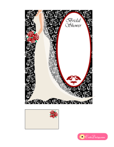 Free Printable Black and Red Bridal Shower Invitations