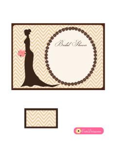 Free Printable Elegant Bridal Shower Invitation in Brown Color