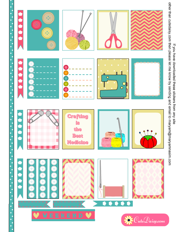 Free Printable Crafts themed Planner Stickers