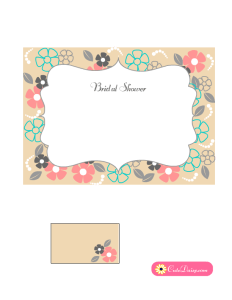 Floral Bridal Shower Invitation in Beige Color
