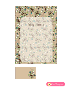 Paisley Bridal Shower Invitation in Fawn and Off-White Colors