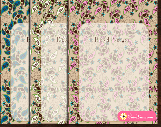 Bridal Shower Invitation Templates featuring Paisley Design