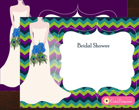 Free Printable Peacock Themed Bridal Shower Invitations Templates