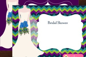 Free Printable Peacock themed Bridal Shower Invitations { Templates}