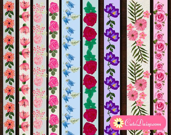 Free Printable Floral Washi Tapes