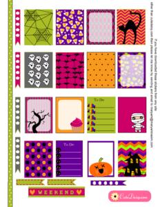Free Printable Halloween Planner Stickers for Erin Condren Life Planner