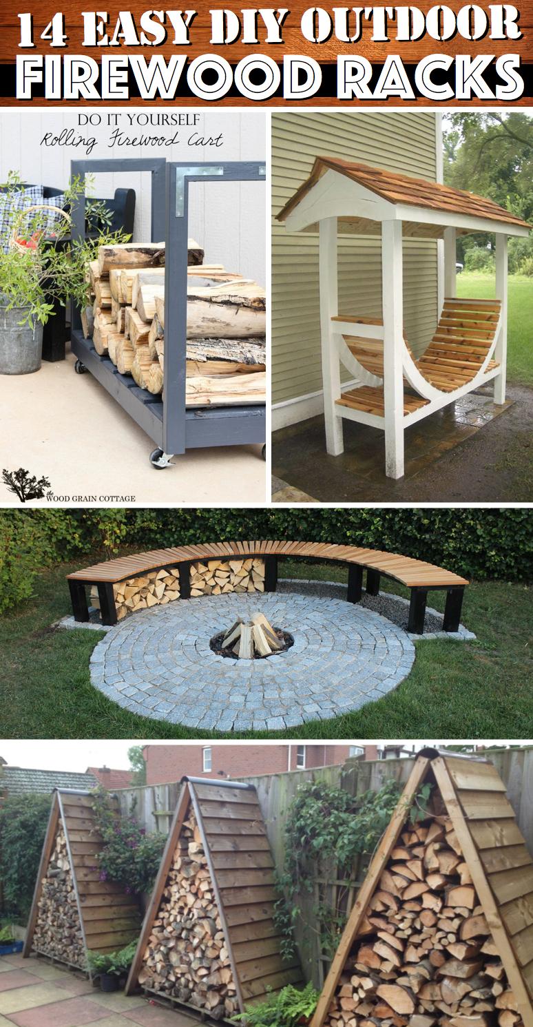 14 easy diy outdoor firewood racks to