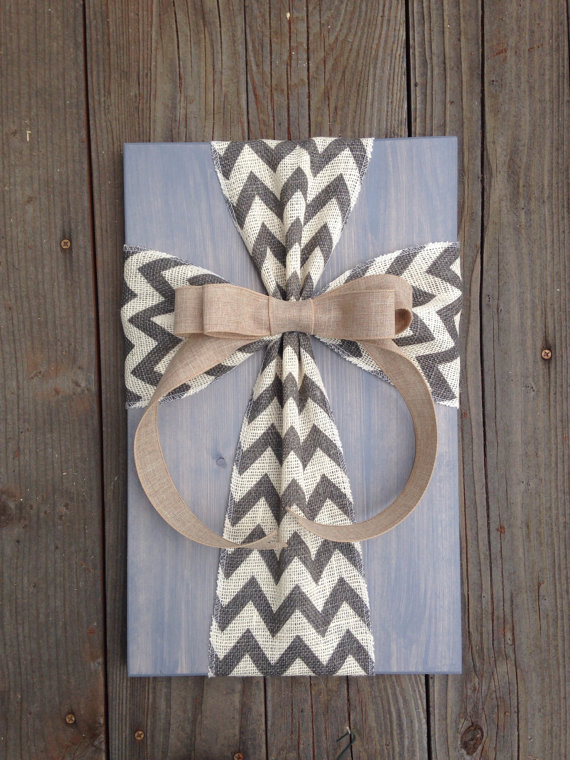 Rustic Burlap Cross Wood Sign Wall Decor