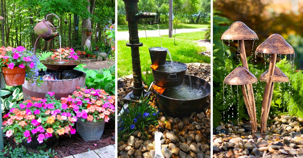diy outdoor fountain ideas brightening