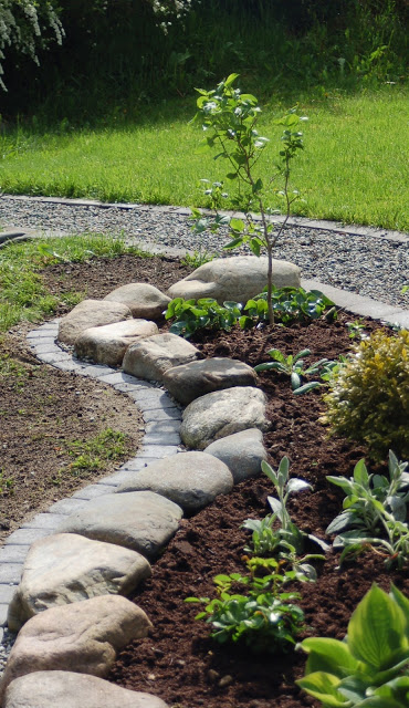 Rock and Brick Garden Edging