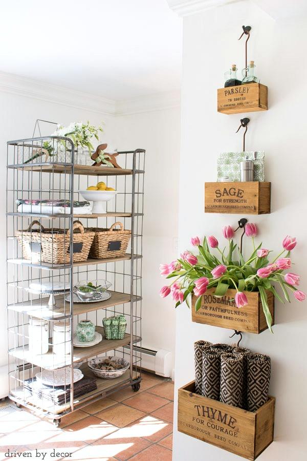 herb crates and bakers rack cute diy