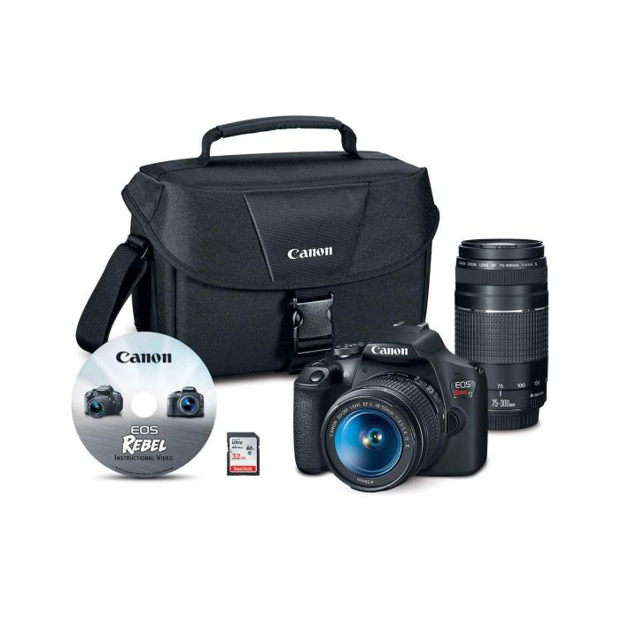Canon EOS Rebel T7 24.1MP Digital SLR Camera Bundle with EF-S 18-55mm IS Lens, 70-300mm Lens, 32GB SD Card,