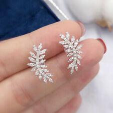Cute Cubic Zircon 925 Silver Stud Earrings for Women Wedding Party Jewelry Gift