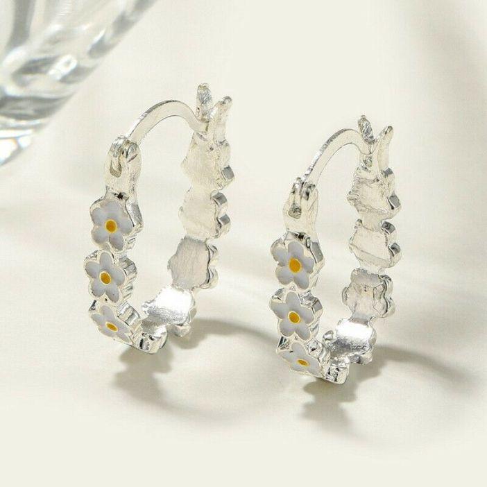 Fashion Silver Cute Flower Earrings Ear Hoop Drop Dangle Women Jewelry Xmas Gift