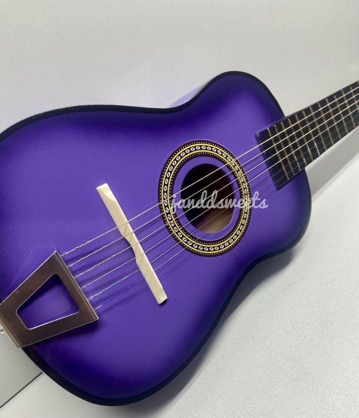 "23"" Mini Acoustic Guitar Wood Beginner Pratical Small Guitarra Kids USA Purple"