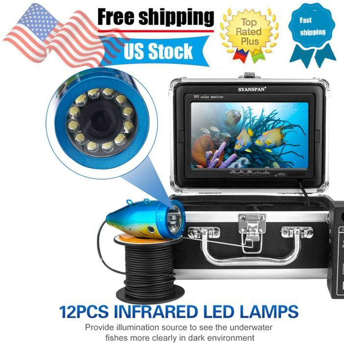 "7"" Fish Finder 1200TVL Underwater Fishing Camera 12 IR Lamp 15M Fishfinders X0V5"