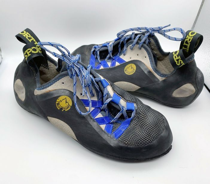 La Sportiva Blue and Black Rock Climbing Shoes M 7.5 W 8.5 - 43105