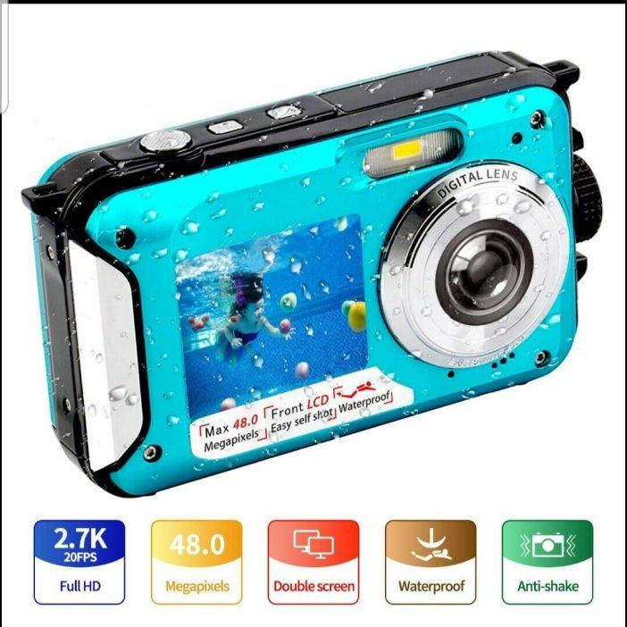 Underwater Camera FHD 2.7K 48 MP Waterproof Digital Camera Selfie Dual Screen