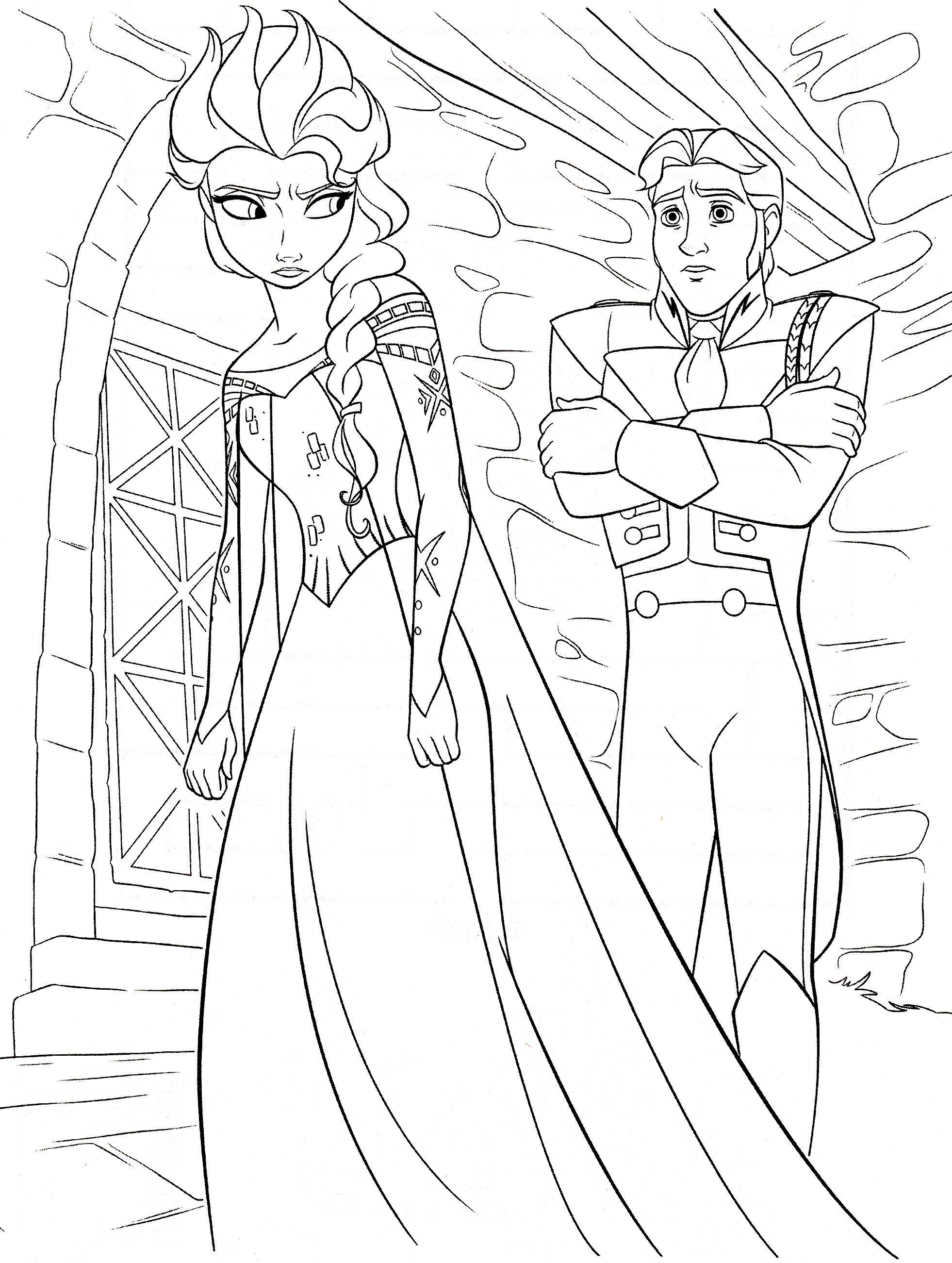 Walt Disney Coloring Pages Queen Elsa Prince Hans Walt Disney