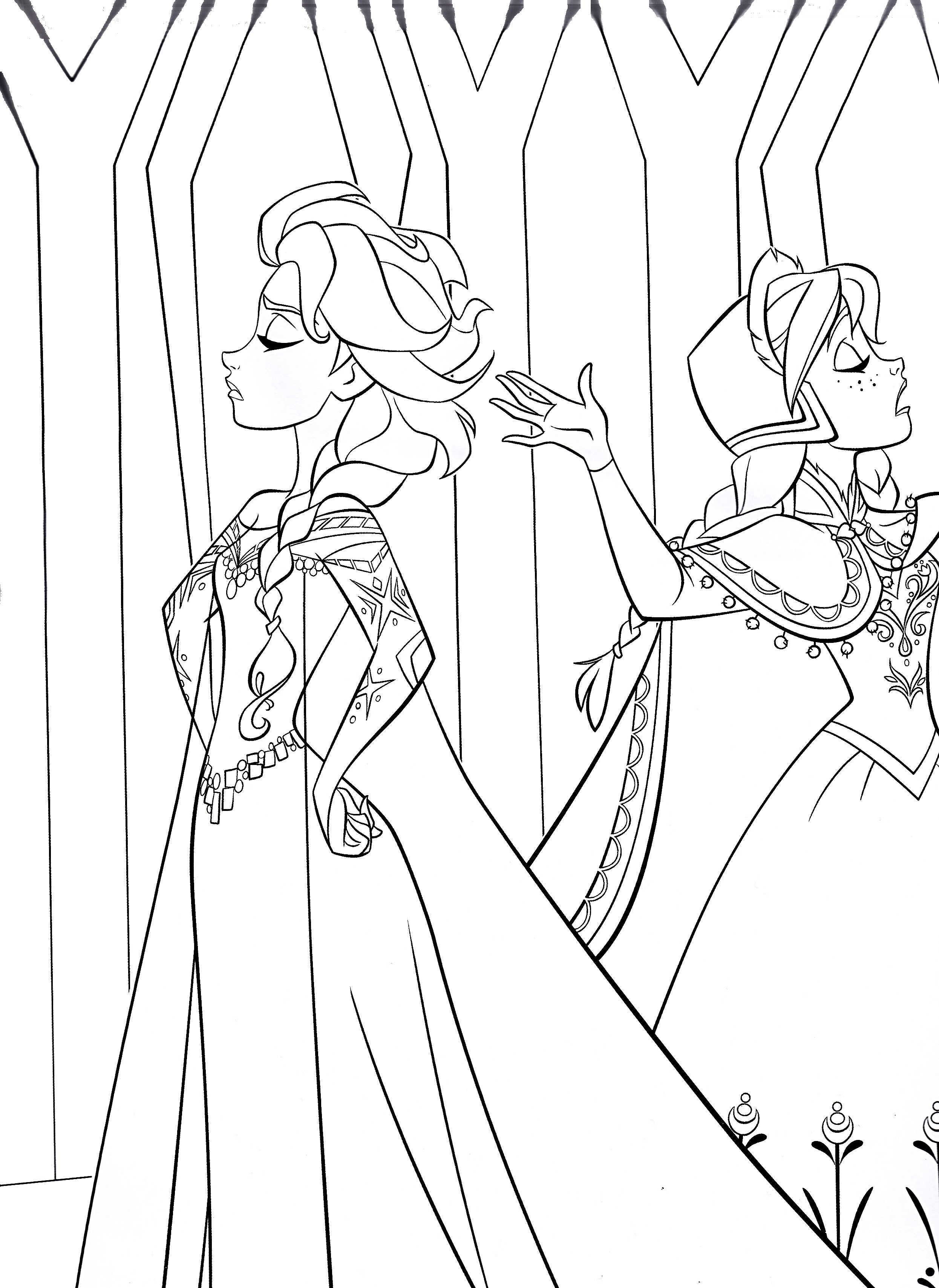 Halloween Coloring Sheets Elsa And Anna Coloring Pages