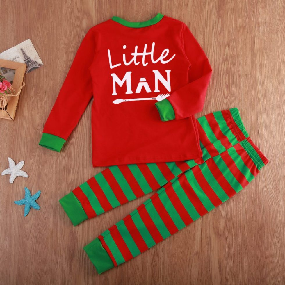 little man christmas pyjama red and green
