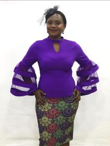 Purple Top With Flay Sleeves