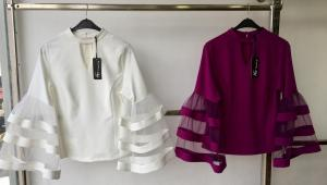 Cream and Wine Tops With Flay Sleeves
