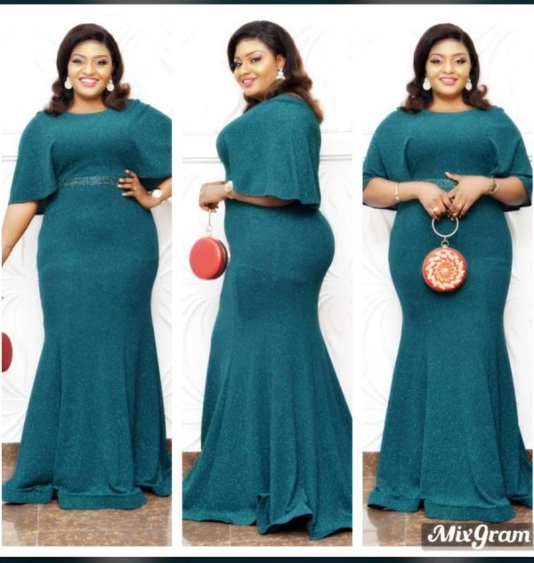 Long Green Flay Gown