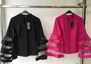 Black and Pink Tops With Flay Sleeves