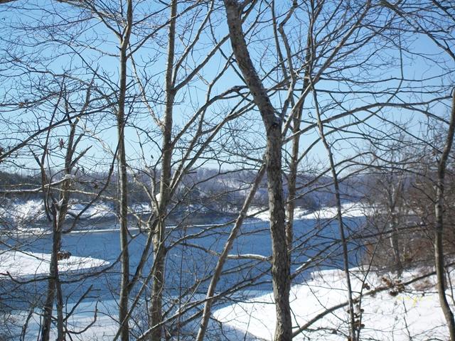 Snow at Horseshoe Bend Cove Beaver Lake  Arkansas
