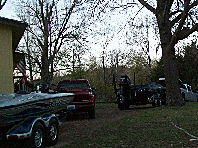 FLW Tournament plenty of room to park bass boats on the level circle drive at Cute Little Cottage