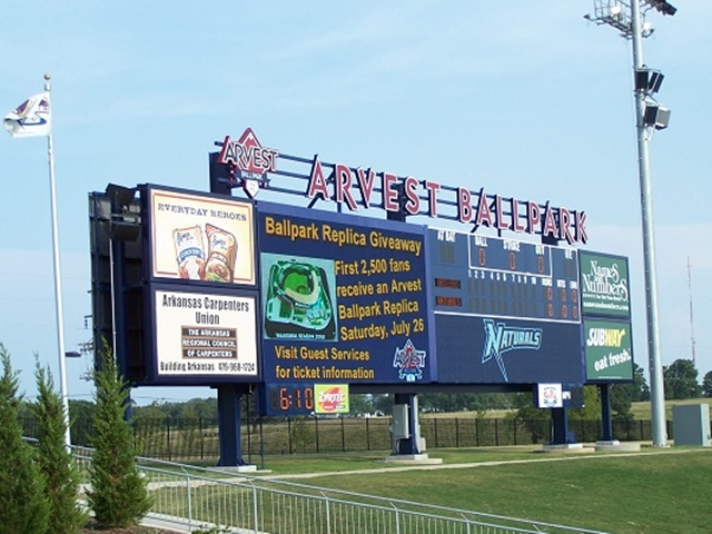 """Arvest Ballpark center"" by Brandonrush (talk) - I created this work entirely by myself.. Licensed under Public Domain via Wikipedia - http://en.wikipedia.org/wiki/File:Arvest_Ballpark_center.jpg#mediaviewer/File:Arvest_Ballpark_center.jpg"