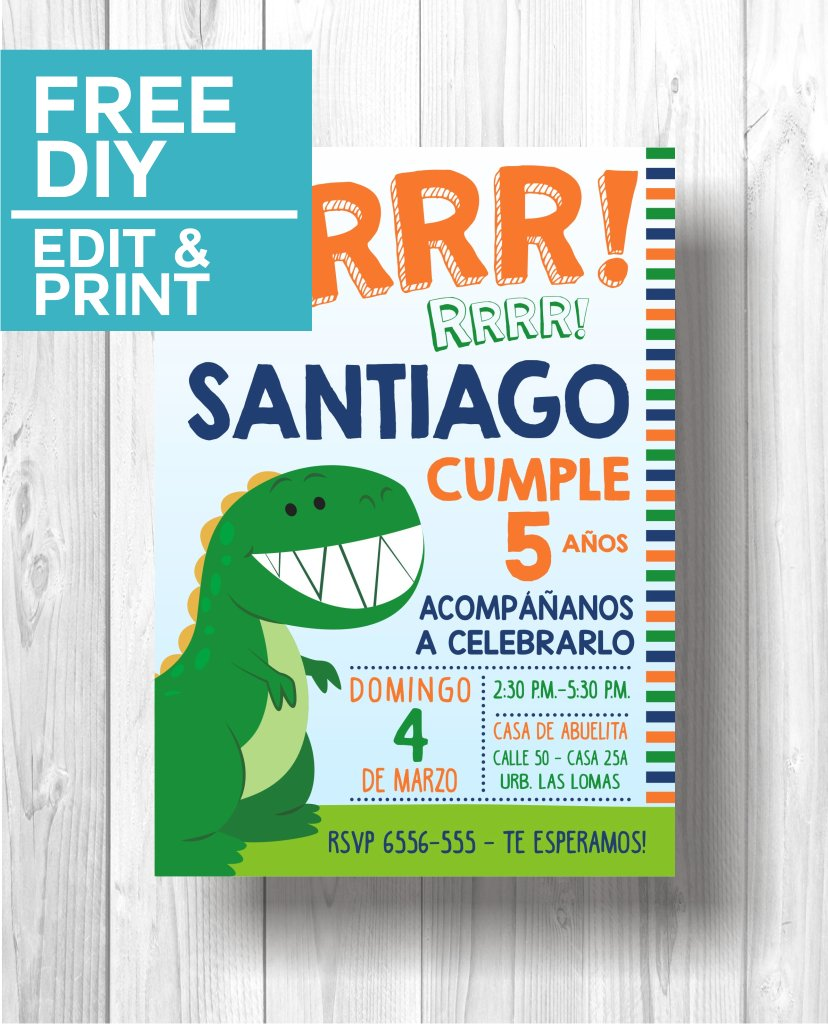Invitacion fiesta Dinosaurio