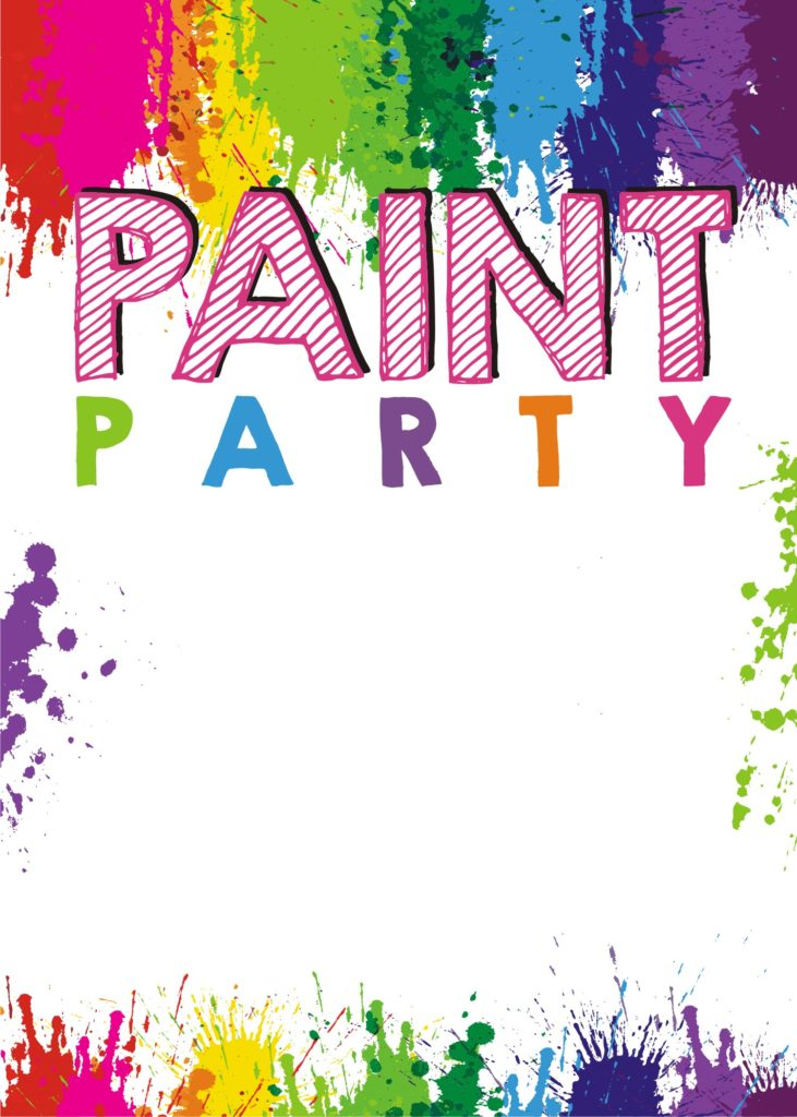 It's just a picture of Free Printable Paint Party Invitations throughout modern watercolor party