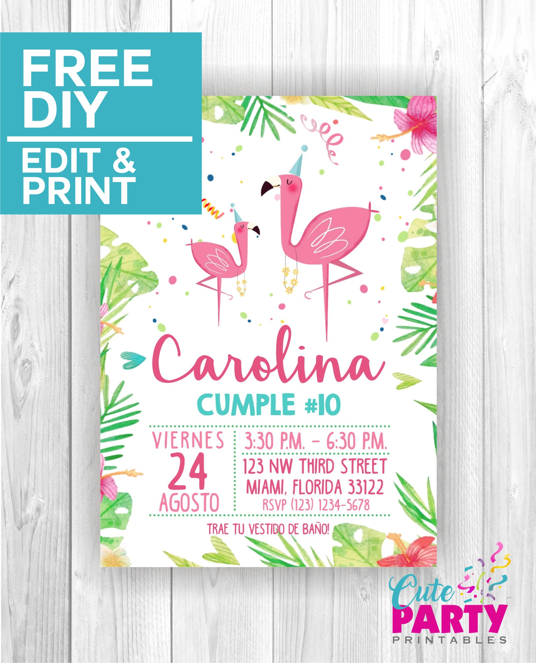 Flamingo Party Invitation CPP