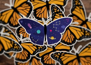 Space Butterfly Stickers