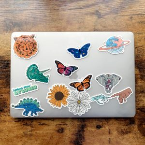 Variety of Super Cute Stickers on Laptop Sitting on Desk
