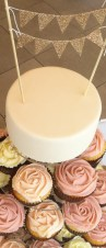 Bunting Cake and Cupcake Tower