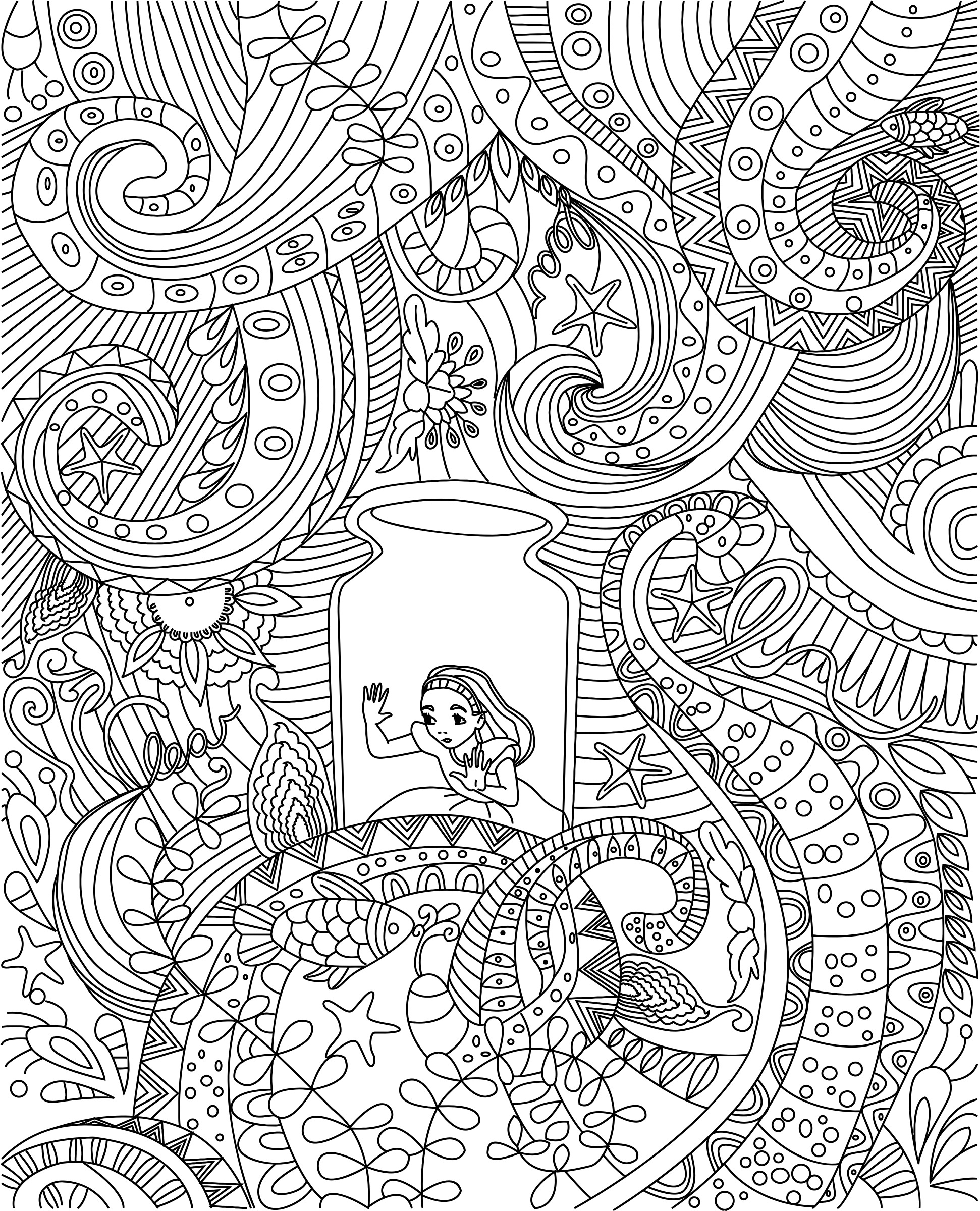 Alice In Wonderland Zentangle Coloring Page JPG PNG and SVG ...